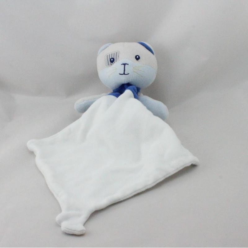 Doudou chat bleu mouchoir Cajou SUCRE D'ORGE