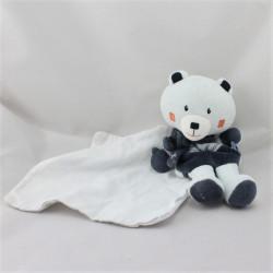 Doudou ours bleu ciel et bleu marine mouchoir cajour SUCRE D'ORGE