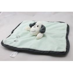 Doudou plat chien gris vert empreintes ZEEMAN