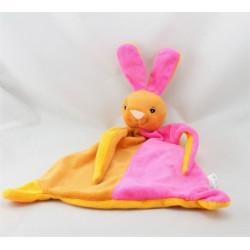 Doudou plat lapin rose orange beige TOI TOYS