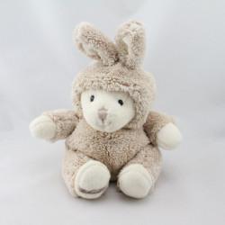 Peluche ours beige blanc déguisé en lapin BUKOWSKI