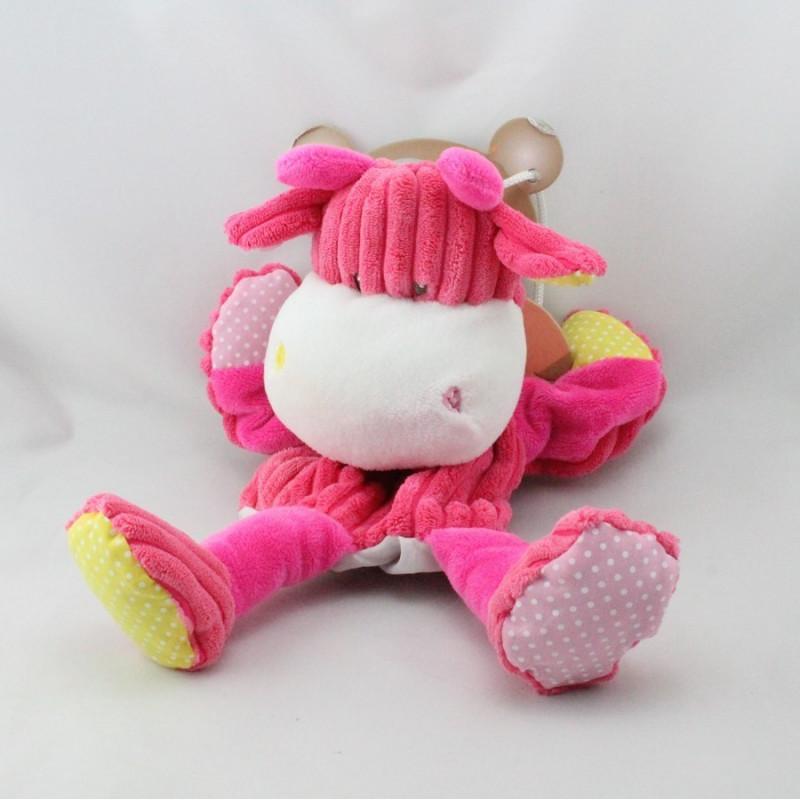 Doudou plat marionnette côtelées vache rose BABY NAT