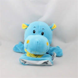 Doudou marionnette hippopotame bleu jaune  JEUX 2 MOMES