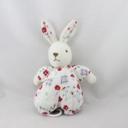 Doudou musical lapin blanc rouge fleurs MINOUCHE