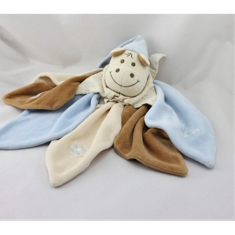 Doudou plat pétales hippopotame Hyppolyte bleu marron beige TAKINOU