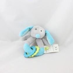 Doudou hochet chien bleu gris vert OBAIBI