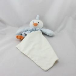 Doudou oiseau canard bleu blanc mouchoir cajou SUCRE D'ORGE