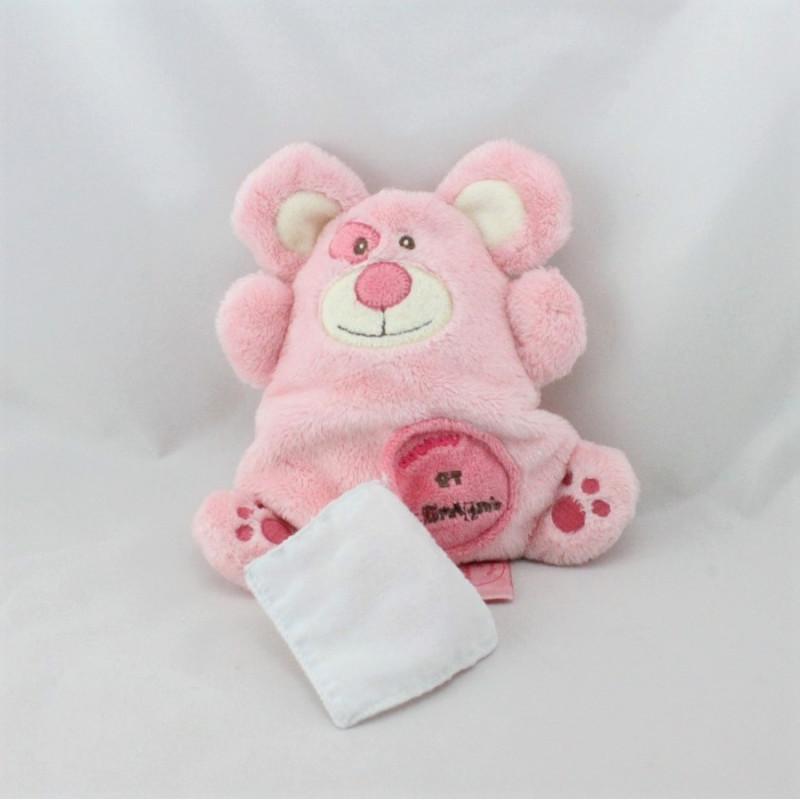 Doudou et compagnie plat souris rose mouchoir monster