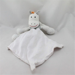 Doudou ane cheval gris orange blanc mouchoir BERLINGOT