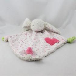 Doudou plat lapin blanc rose fleurs coeur ABSORBA