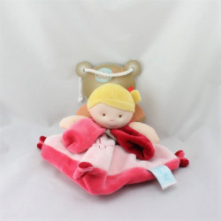 Doudou plat poupée fille rose rouge blonde BABY NAT