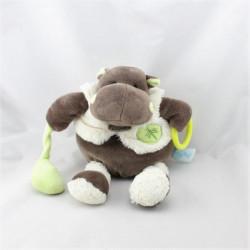 Doudou Hippopotame marron gilet blanc Bazile l'hippo BABY NAT
