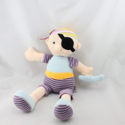 Doudou poupée pirate violet bleu jaune rayé TEDDYKOMPANIET