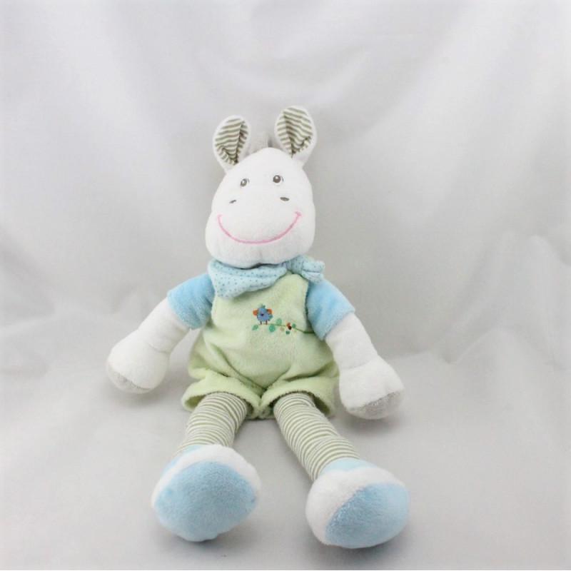 Doudou cheval vert bleu blanc gris rayé BEBEREVE