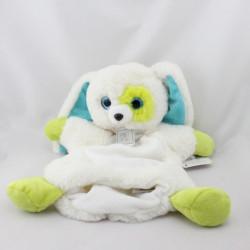 Doudou plat marionnette lapin blanc vert bleu OH STUDIO