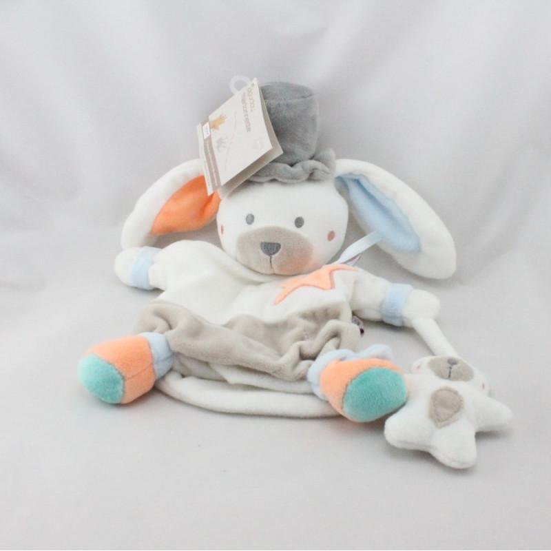 Doudou plat marionnette lapin blanc beige bleu orange gris Bébé9