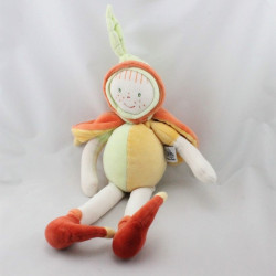 Doudou poupée lutin feuille orange vert jaune MOULIN ROTY
