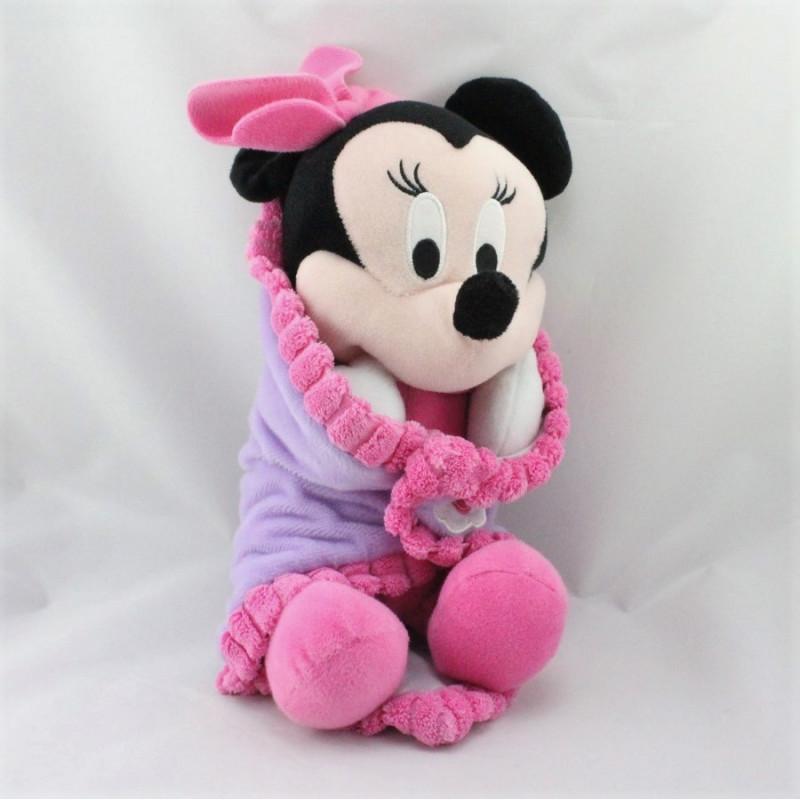 Doudou Baby Minnie couverture mouchoir rose mauve DISNEY