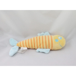 Doudou poisson jaune orange bleu KIMBALOO
