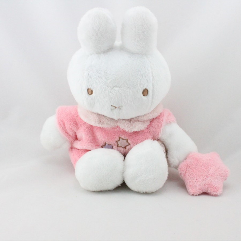Doudou lapin blanc rose étoiles MIFFY