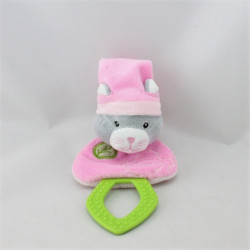 Doudou hochet chat rose feuille verte dentition GIPSY