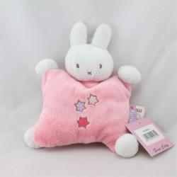Doudou semi plat lapin blanc rose étoiles MIFFY