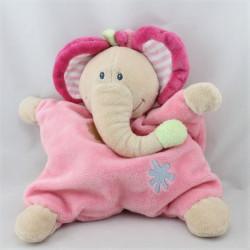 Doudou semi plat éléphant beige rose fleurs NATTOU