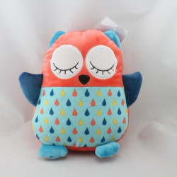 Doudou chouette hibou bleu orange  VERTBAUDET