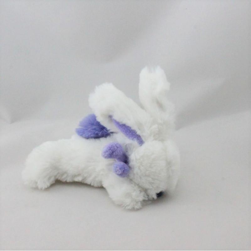 Doudou et compagnie lapin blanc violet Pompon attache tétineompon attache tétine