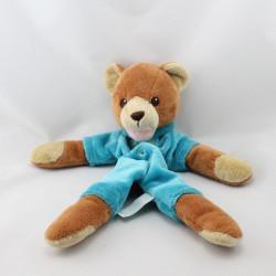 Doudou plat ours marron bleu ANIMA