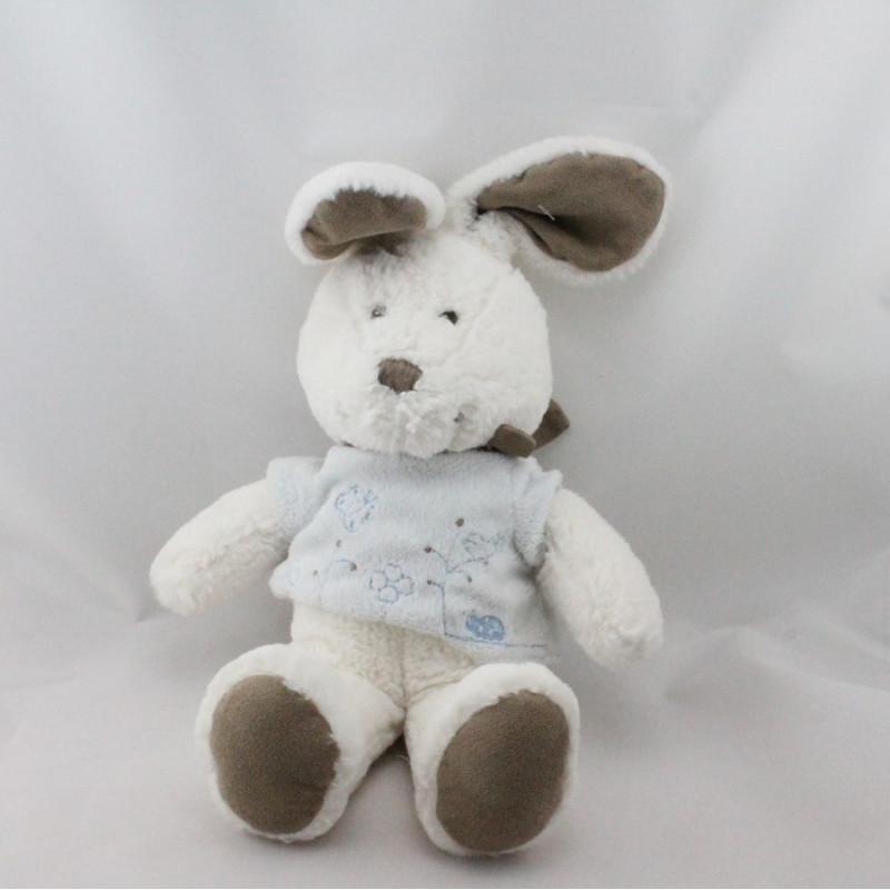 Doudou lapin blanc gris beige pull bleu papillon NICOTOY