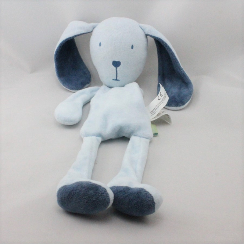 Doudou plat lapin bleu EURODIF