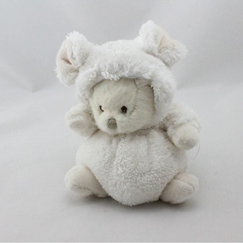 Peluche ours souris blanc BUKOWSKI 16 cm