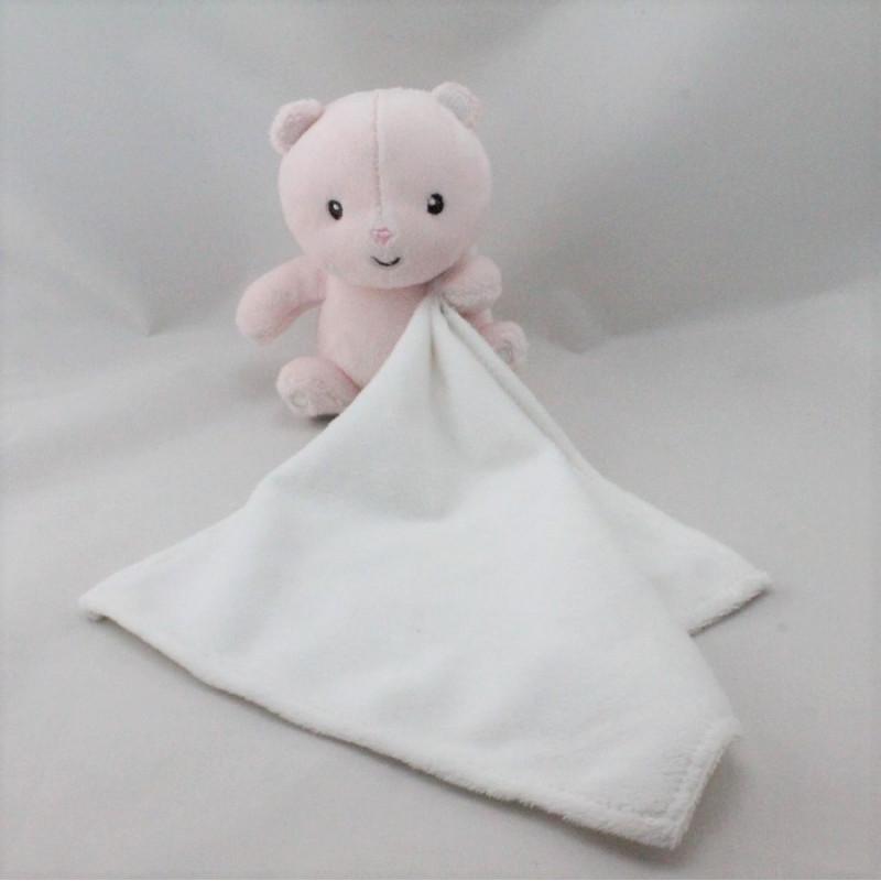 Doudou ours rose avec mouchoir blanc KIMBALOO