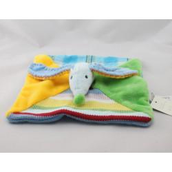 Doudou plat chien bleu jaune vert rouge laine HAPPY HORSE