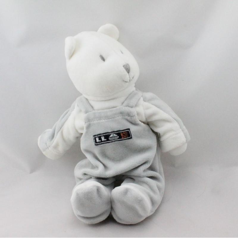 Doudou ours blanc gris BERLINGOT