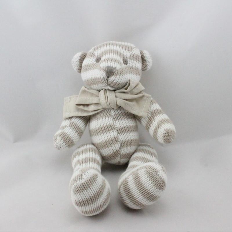 Doudou ours laine rayé beige blanc