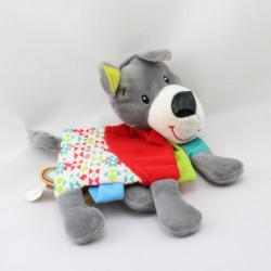 Doudou plat livre chien gris rouge vert bleu MINIMI