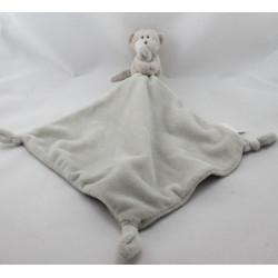 Doudou plat singe gris beige mouchoir LITTLE WHITE COMPANY