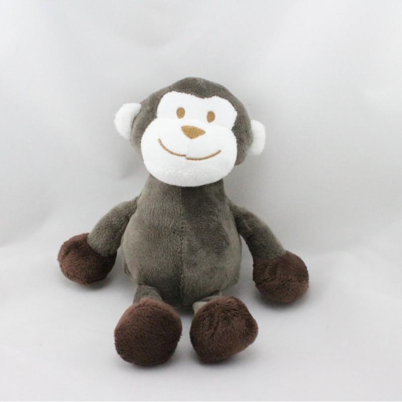 Doudou singe marron blanc