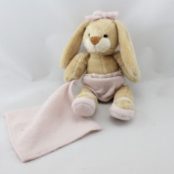 Doudou lapin beige rose mouchoir PASITO