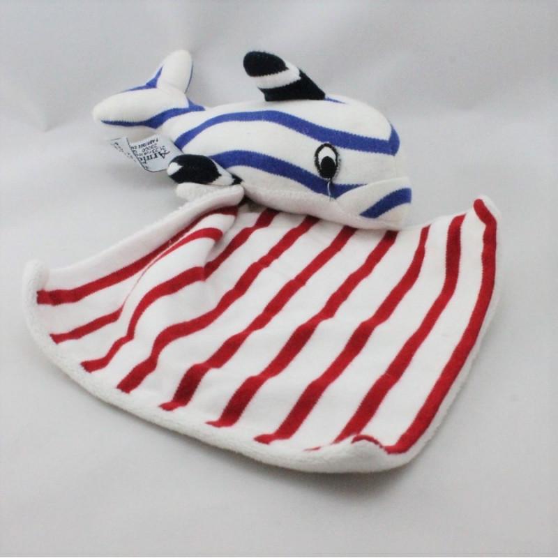 Doudou dauphin blanc rayé bleu rouge mouchoir ARMOR LUX