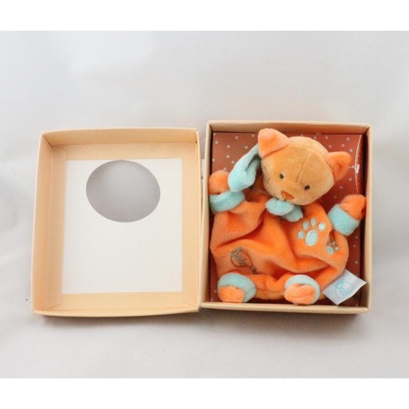Mini Doudou plat chat orange attache tétine BABY NAT