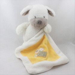 Doudou chien blanc beige mouchoir jaune NICOTOY