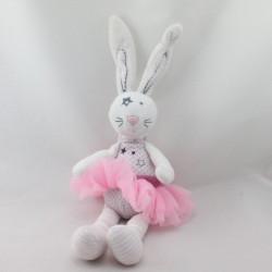 Doudou lapin blanc rose rayures pois jupe tutu TAPE A L'OEIL