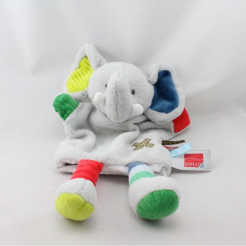 Doudou marionnette éléphant gris bleu vert rouge étiquettes INFLUX