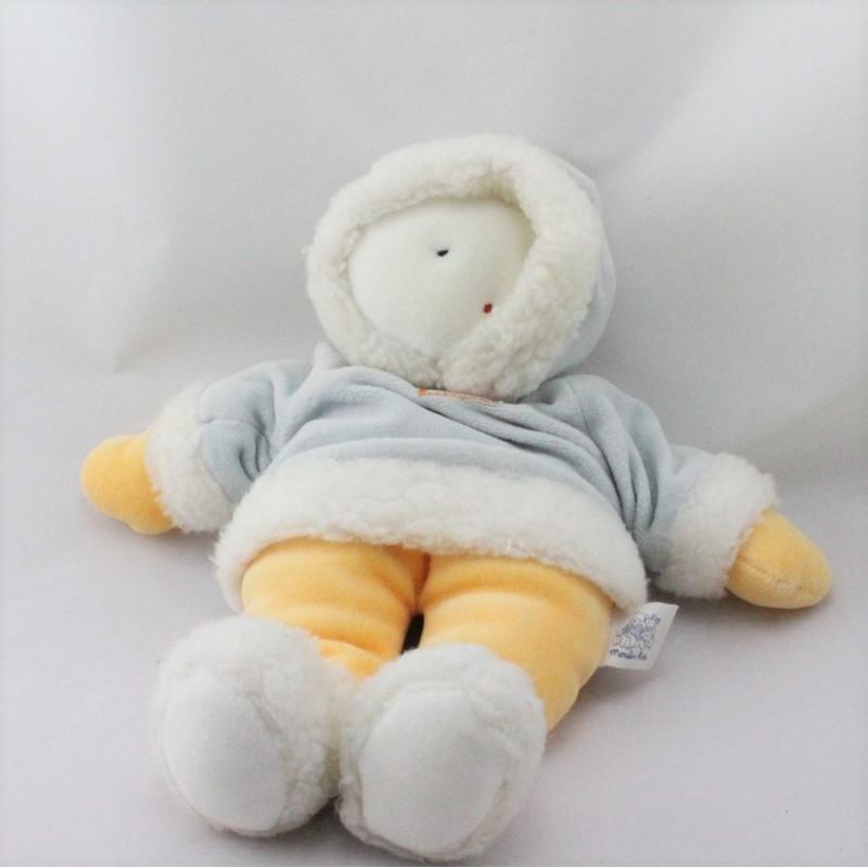 Doudou esquimau blanc bleu orange Sur La Banquise MOULIN ROTY