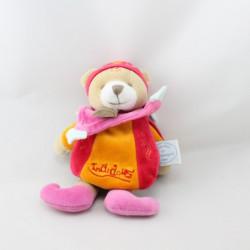 Doudou ours cape Indidous rose orange DOUDOU ET COMPAGNIE