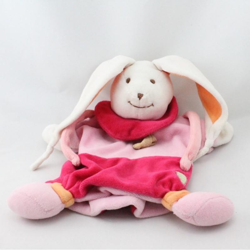 Doudou et compagnie marionnette lapin rose orange carotte