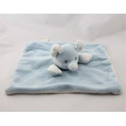 Doudou plat éléphant bleu blanc MY NATURAL